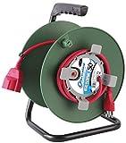 Electraline 49233 Prolunga Giardino con Avvolgicavo 50 mt Spina 16A e Presa Polivalente (Schuko + 10/16A) Adatta per Elettrodomestici da Giardinaggio, con Protezione - Sezione Cavo 3G1,5 mm²