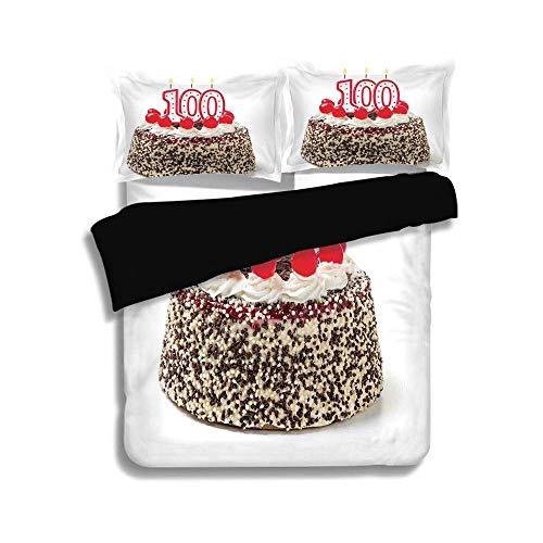 Schwarzer Bettbezug Set, 100. Geburtstag Dekorationen, Foto von Gebäck Party Kuchen mit Kerzen und Streuseln Bild, Multicolor, dekorative 3 Stück Bettwäsche Set von 2 Pillow Shams, TWIN-Größe