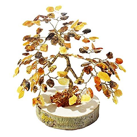 Mixed Baltic Amber Tree - BONSAI (135 amber leaves), handmade and boxed. Perfect and Unique gift!