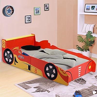 Costway Kids Racing Car Bed Speed Toddler Children Boys Junior Wooden Bedroom Bedframe - inexpensive UK light store.