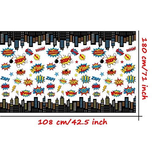 "51LFTJeNn7L - MIANRUII 4 Pack Superhero Plastic Table Cover 43 ""x 71"" Superhero Tablecloths Party Supplies Decorations"