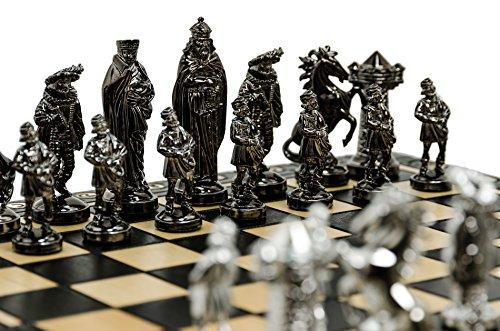 Lusso-medievale-SILVER-Edition-Chess-Set-40cm16-metallizzato-metallo-ponderata-Chessmen-grande-scacchiera-di-legno-decorativo