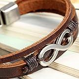 Flongo 2 Stück echtleder unendlichkeitszeichen armband detail