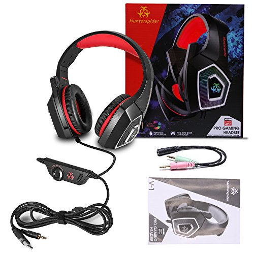 TENSWALL PS4 Gaming Headset, Hunterspider Series, LED Light Wired PC Gaming  Headphone with Mic, 3 5mm Heasdset Jack Over-Ear Headset Headband Bass