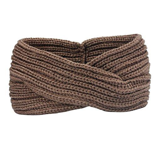 VRTUR Damen Schleife Design Stirnband Winter Kopfband Haarband Stirnband Häkelarbeit (Einheitsgröße,Khaki)