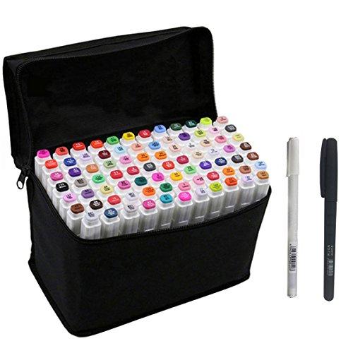 Stifte Manga (80 Farben Marker Stift,Twin Tip Textmarker Graffiti Pens, set mit 80 Farben für Studenten Manga Kunstler Design Schule Drawing Sketch Marker Pen Art Supplies mit Aufbewahrungstasche (80pcs))