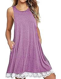 Wokee Fashion - Vestido de fiesta para mujer, cuello redondo, sin mangas, sin