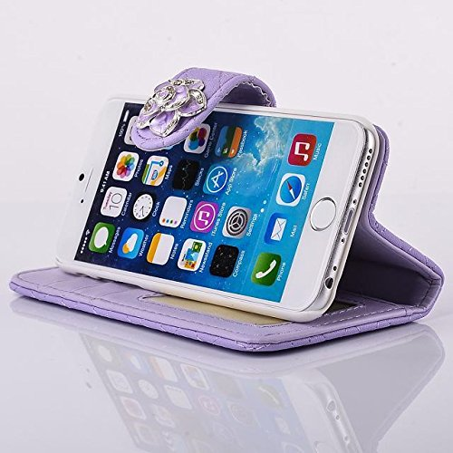 """inShang Hülle für Apple iPhone 6 iPhone 6S 4.7 inch iPhone6 iPhone6S 4.7"""", Cover Mit Modisch Klickschnalle + Errichten-in der Tasche + GRID PATTERN , Edles PU Leder Tasche Skins Etui Schutzhülle Ständ flower purple"""