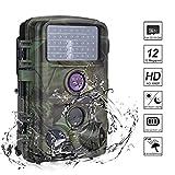 Nicam Wildkamera 1080P Full HD Jagdkamera 120° Weitwinkel Vision Infrarote 20m Nachtsicht IP56 Wasserdichte Überwachungskamera mit 2.4' TFT LCD/ 46pcs IR LEDs/ 32GB Micro SD Karte - 12 MP / 0,2s