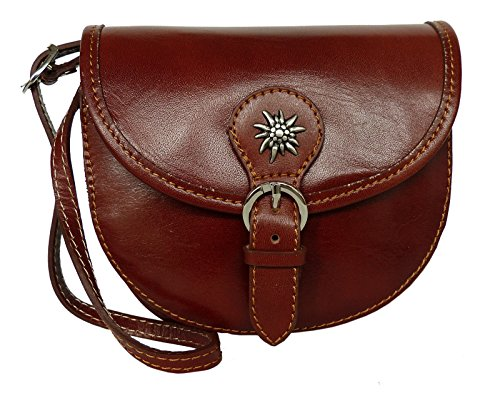 Elegante Echt Leder Trachtentasche mit Fleur des Lys oder Edelweiss fürs Dirndl - Rindsleder Edelweiss Marone
