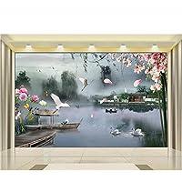 Merveilleux Guyuell Benutzerdefinierte 3D Fototapete Wandbild Wohnzimmer See Schiff  Brücke Kapok Haus Blume 3D Malerei Tv Hintergrund