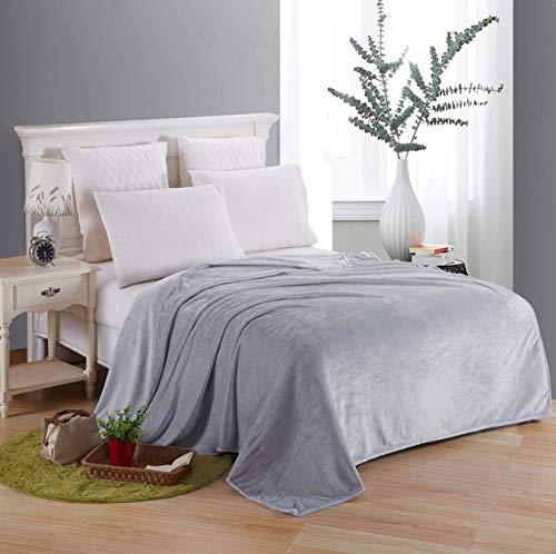 Weiche Decke Auf Dem Bett Polyester Korallen Flanell Plaid Grau Farbe Erwachsene Winter Warme Bettwäsche Bettdecke Flanelldecken 200 * 230 cm - Grau Plaid Flanell