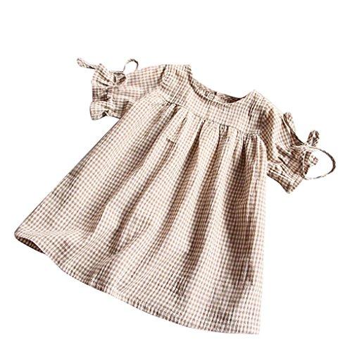 Baby Mädchen Kleidung Set JYJM Mädchen Sommer Mode Mädchen Rock Bluse Mädchen Rundhalsausschnitt Manschetten Fliege mit Röcken Prinzessin Party Kleider Jumpsuit Outfit (Größe: 3-4 Jahre, Khaki)