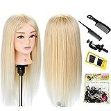 Neverland Beauty Trainingsköpfe für Friseure Übungskopf 22'' 100% Echthaar Friseurkopf Friseursalon Puppenkopf Schminkkopf Friseur mannequin kopf mit Halter + + Hair Braid Set #613