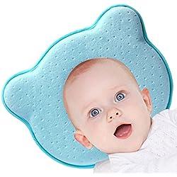 Baby Pillow - Prevención del síndrome de cabeza plana para su bebé recién nacido Evite la almohada transpirable de espuma con memoria de plagiocefalia (Azul)
