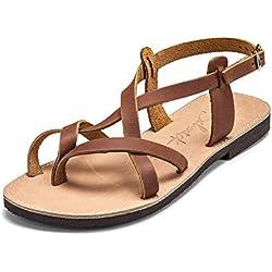 SCHMICK Sandalias 'Artemis' señora sandalias romanas calzado de verano de piel auténtica aspecto metálico, Schuhgröße:36 EU;Farbe:brown