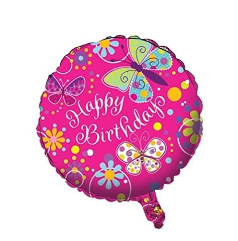 Creative Converting Butterfly Sparkle Two Sided Mylar Foil Round Balloon