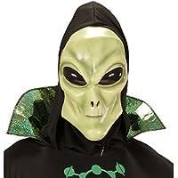 Careta alien Máscara látex extraterrestre con capucha y ojos Antifaz carnaval marciano Careta hombre de Marte Disfraz OVNI Fiesta temática espacio extraterrestre