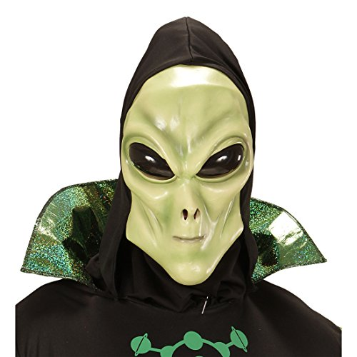 NET TOYS Alienmaske Latexmaske Außerirdischer mit Kapuze und Augen Faschingsmaske Marsmensch Gesichtsmaske Marsianer Karnevalsmaske UFO Kostüm Mottoparty Weltraum (Tag Der Erde Kostüm Für Erwachsene)