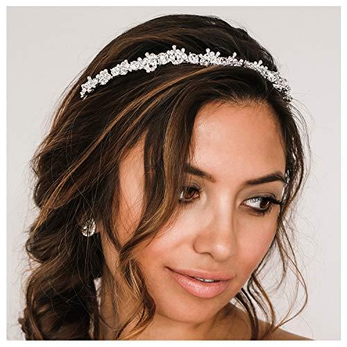 SWEETV Romantisch Kristall Hochzeit Haarband Stirnbänder Braut Haarreifen Haarschmuck Silber