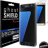 TECHGEAR® Protector de pantalla de poliuretano termoplástico genuino reforzado para Samsung Galaxy S7 Edge (edición ghostSHIELD), cubiertas protectoras con cobertura de pantalla completa, incluso del área curva de la pantalla (protección 3D de bordes curvados) (SM-G935), paquete por 3 unidades