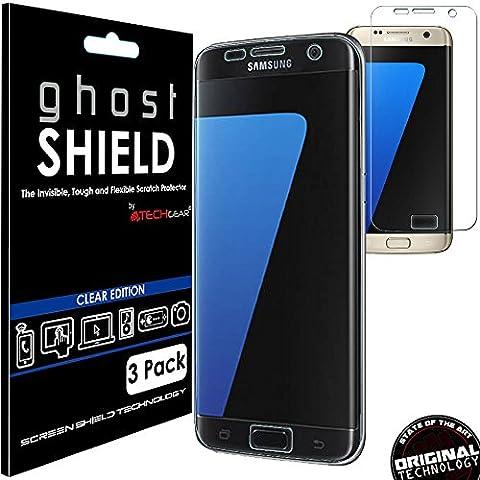 [3Stück] Techgear® Samsung Galaxy S7Edge [ghostshield Edition] Genuine verstärkte TPU Displayschutzfolie Guard mit Gesamte Bildschirm Deckung inkl. gebogener Bereich [3D geschwungene Kanten Schutz] (sm-g935)