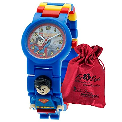 LEGO Kinderuhr Superman Kinder-Armbanduhr blau rot gelb mit Transportsäckchen Kunststoff-Armband Quarzuhr (Blu Sacchetto Di Trasporto)