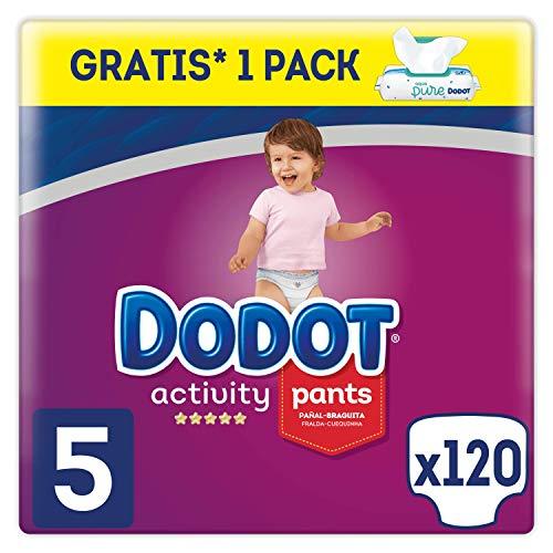 Dodot Activity Pants Pañal-Braguita Talla 5, 12-17 kg - 120 Pañales + Dodot Aqua Pure Toallitas para Bebé - 1 Pack de 48 Toallitas Gratis