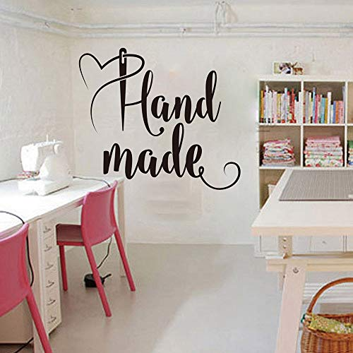 Nähen von Hand gemacht Schriftzug Wandtattoo Handarbeit Shop Wand Fenster Aufkleber handgemacht Nähen Vinyl Aufkleber Wand Decorati 34x30cm