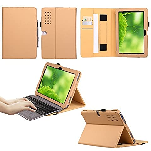 Multi Function Premium Folio PU Leather Book Case with Velcro Hand Strap, Card Slots, Pocket Stand Smart Cover for ASUS 10.1