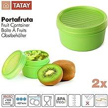 TATAY - Lote de 2 Tapers Portafruta en Plástico de Alta Calidad Libre de BPA, Práctico Cierre Hermético a Rosca Ideal Para Transporte de Fruta, Tentempiés y Papillas, Capacidades 0.5L + 0.2L, Color Verde