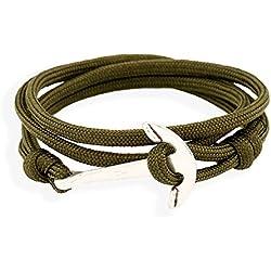 wjkuku plata Anchor pulseras de colores cuerdas de nailon Hombres ajustable ancla para Wrap Cuff pulseras