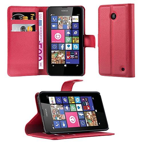 Cadorabo Coque pour Nokia Lumia 630/635 en Rouge Cerise - Housse Protection avec Fermoire Magnétique, Stand Horizontal et Fente Carte - Portefeuille Etui Poche Folio Case Cover