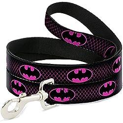 Buckle Down Dl-wbm163-n Noir/Rose Vif Batman Pet Leash, 4Pieds Long-1/5,1cm de Large
