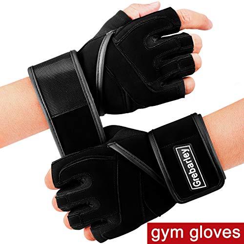 Grebarley Fitness Handschuhe Trainingshandschuhe,Leicht Gewichtheben Ideal zum Gewichtheben,Crossfit Training und Radsportanzug für Damen und Herren (Black, XL) -