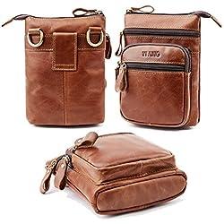 Cuir véritable Sac banane, Aolvo vertical téléphone portable Holster ceinture/sac à dos pour hommes, pour homme incliné Sac à bandoulière marron marron