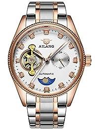 Reloj mecánico automático Hombres de negocios hueco impermeable correa de acero inoxidable Diamond multi-función de puntero pequeño , , figure 6