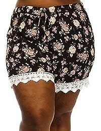 Vovotrade Femmes Taille Grande Foral Dentelle épissure Cordon Shorts Pantalon Court Casual