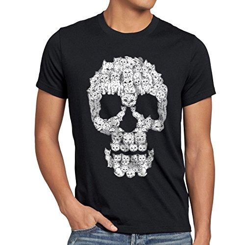 style3 Cat Skull T-shirt da uomo testa di morto teschio gatto felino micia, Dimensione:L