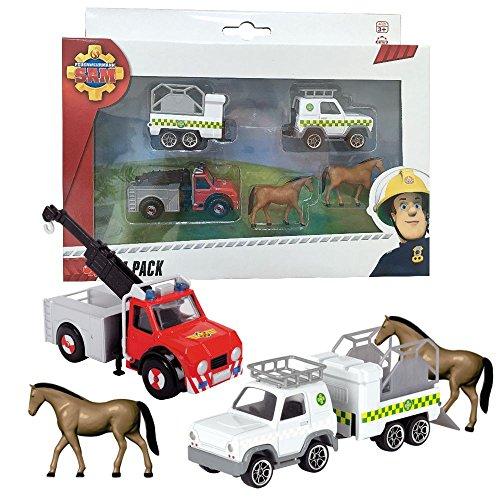 feuerwehrmann sam gelaendewagen Feuerwehrmann Sam - Mini Die Cast Serie - Set Tierrettung Phönix & Pferde