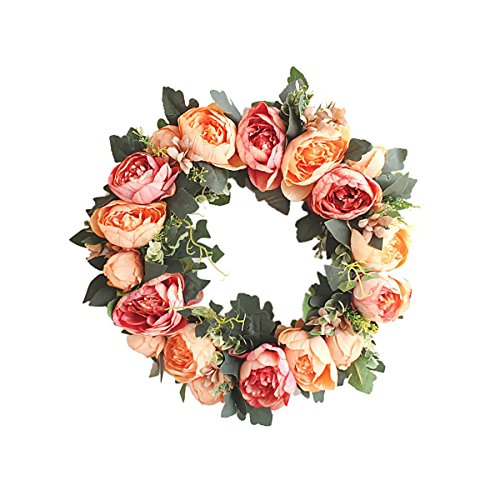 HooAMI Deko Kranz Wandkranz Kuenstliche Blumen Girlande mit Kranz Fuer Outdoor Sommer Hochzeit Wohnung Tuerkranz 40cm - Orange