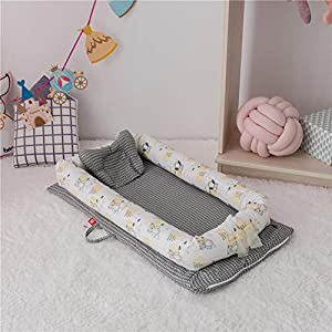 XUNMAIFLB Removable Baby Cot, Double-layer Yarn Cotton Bed, Baby Bed, Infant Newborn Bionic Mattress (90 * 50 * 15cm) Safety, D   15