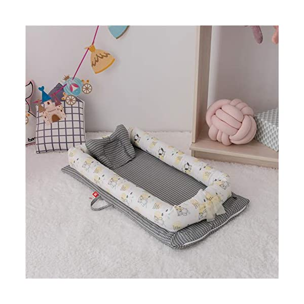 XUNMAIFLB Removable Baby Cot, Double-layer Yarn Cotton Bed, Baby Bed, Infant Newborn Bionic Mattress (90 * 50 * 15cm) Safety, D XUNMAIFLB Strap design: the tail strap design can switch between the front and back. Portable hand-held design: portable rope design is easy to carry and carry out. Can be placed anywhere: baby bed portable and portable, can be placed in the cradle bed more comfortable and safe. 1
