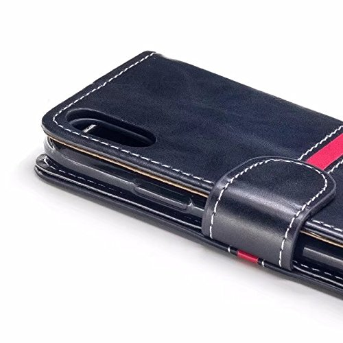 EKINHUI Case Cover Echtes Qualitäts-elegantes PU-Leder-Schlag-Standplatz-Fall-Abdeckung mit Lanyard und Karten-Schlitzen für iPhone X Ausgabe ( Color : Gray ) Black