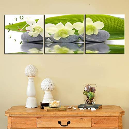 QiXian Wohnzimmer Esszimmer Moderne Dekorative Malerei Stumm Uhr Leinwand Malerei Dreifache Wanduhr Narzisse auf Stein Enthält Rahmen, Uhren und Gemälde, 3PCS, 60 * 60 cm