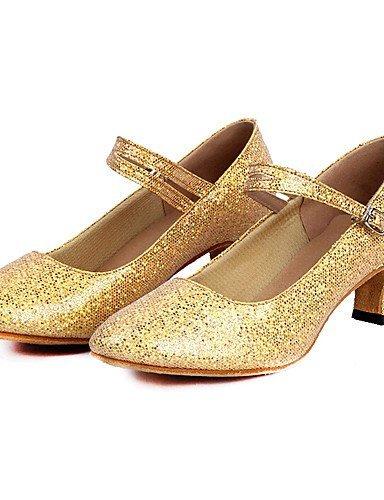 ShangYi Chaussures de danse (Bleu/Rose/Rouge/Argent/Or) - Non personnalisable - Talon bas - Paillettes scintillantes/Paillette - Moderne Gold