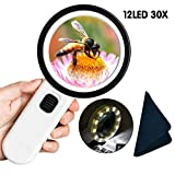Magnifying Glass with Light,30X Handheld Reading Magnifying Glass 12Pcs Illuminated LED Lights
