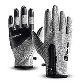 T98 Touchscreen Handschuhe, Fahrradhandschuhe Laufhandschuhe Winter Warme Sporthandschuhe Herren Damen Winddicht Wasserdichter Winterhandschuhe für Radfahren, Wandern, Skifahren(Gray, S)