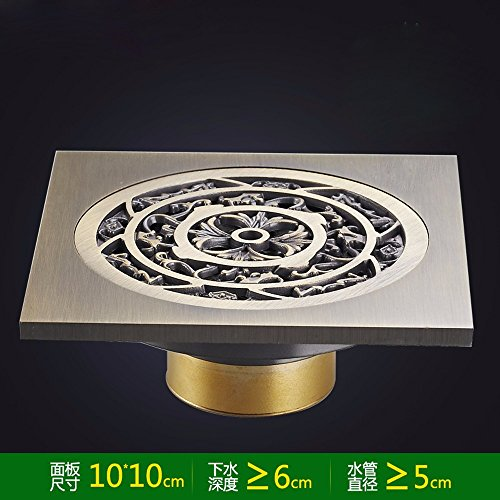 Khskx-all en cuivre massif T-elastic déodorants WC Siphon de sol en acier inoxydable filtre machine à laver vers la machine 10*10 cm