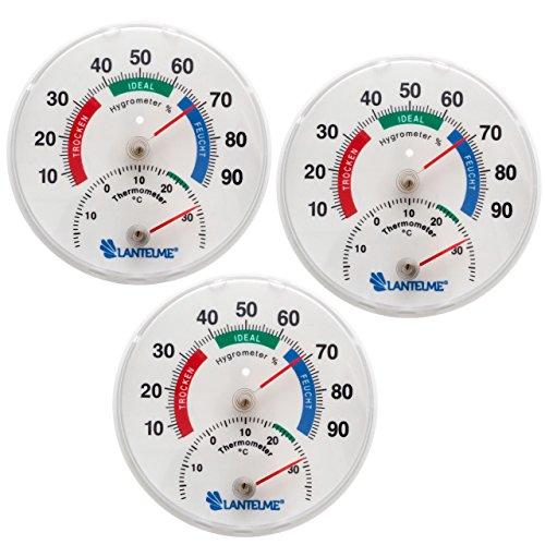 Lantelme 5976 Thermometer - Hygrometer 3 Stück Set - Analog und Bimetall